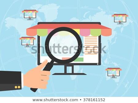 Achats en ligne mains portable monde main internet Photo stock © yupiramos