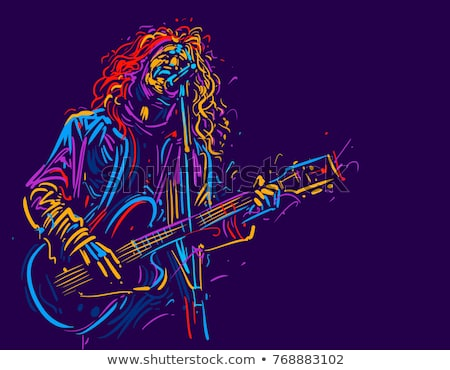 abstract musical guitar with men Stock photo © pathakdesigner