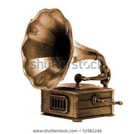 Old record player over white background Stock photo © Elmiko