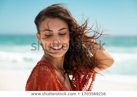 Stok fotoğraf: Beautiful Woman Outdoors Wearing A Lace Dress