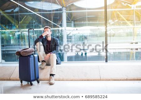homem · falante · telefone · móvel · avião · sorrir · paisagem - foto stock © photography33