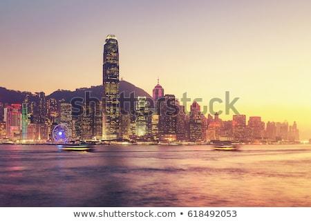 Foto stock: Hong · Kong · puerto · noche · tiempo · negocios · oficina