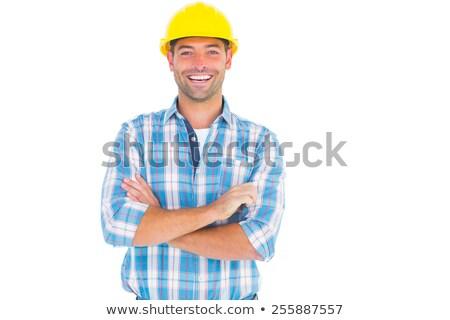 Mosolyog férfi visel munkavédelmi sisak kék ipar Stock fotó © photography33