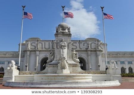 bandeira · americana · mastro · de · bandeira · estrelas · isolado · branco - foto stock © frankljr