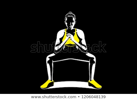 Charming woman in squatting posture Stock photo © stockyimages