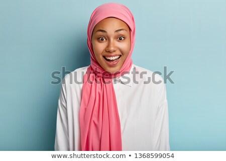 meisje · hoofddoek · portret · mooie · vrouw · gekleurd - stockfoto © carlodapino