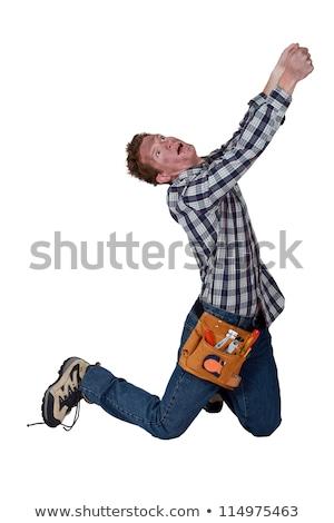 Húz láthatatlan tárgyak férfi munka szerszámok Stock fotó © photography33