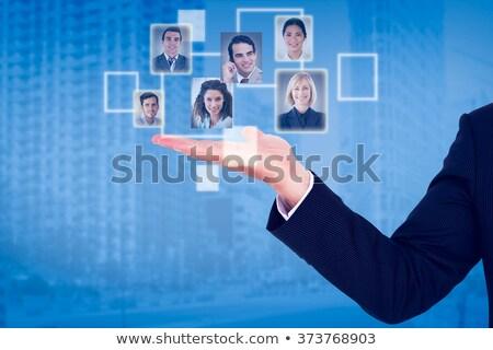 fiatal · üzletember · tart · súlyzó · izolált · fehér - stock fotó © wavebreak_media