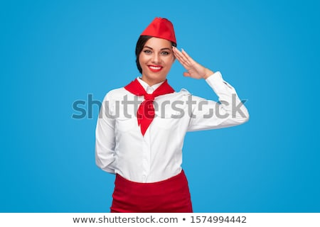 スチュワーデス 挨拶 ジェスチャー 幸せ 笑みを浮かべて ストックフォト © dolgachov