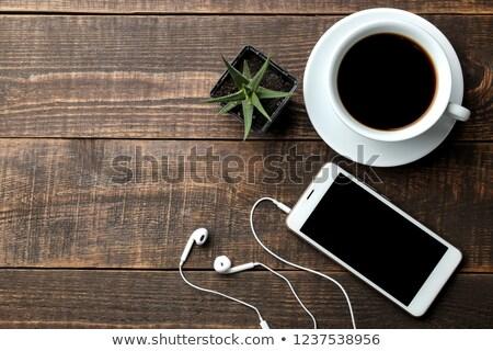 siyah · kahve · beyaz · rustik · ahşap · masa · fincan - stok fotoğraf © justinb