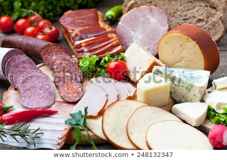 worstjes · kaas · brood · druif · witte · lunch - stockfoto © M-studio