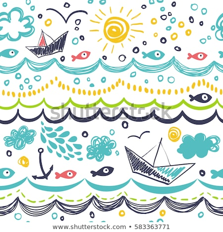 Underwater wallpaper with ship and fishes. vector illustration Stock photo © carodi