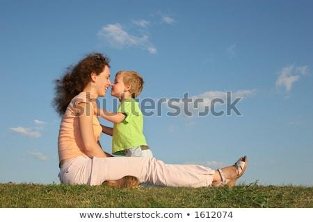 mãe · filho · pôr · do · sol · beijo · nariz · um - foto stock © Paha_L