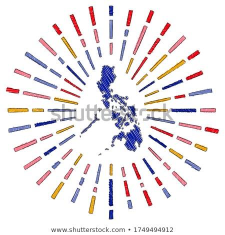 Handdrawn flag of Philippines Stock photo © claudiodivizia