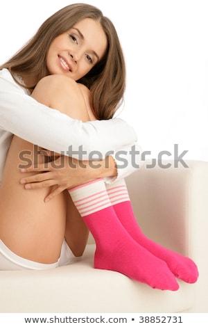 nő · ölel · lábak · visel · meleg · zokni - stock fotó © sarahdoow