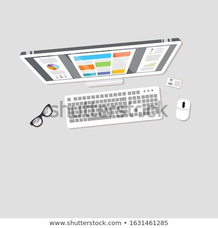 Maison main icône rouge clavier bouton Photo stock © tashatuvango