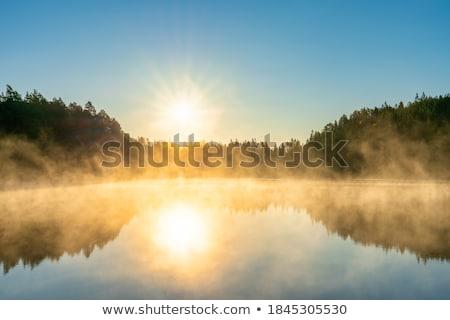 dumanlı · sis · göl · kuzey · Portekiz · güzellik · dağlar - stok fotoğraf © leungchopan