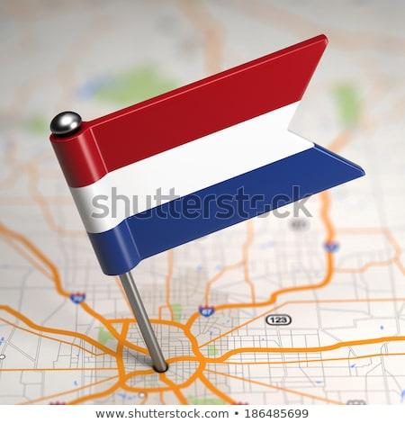 Nederland klein vlag kaart selectieve aandacht achtergrond Stockfoto © tashatuvango