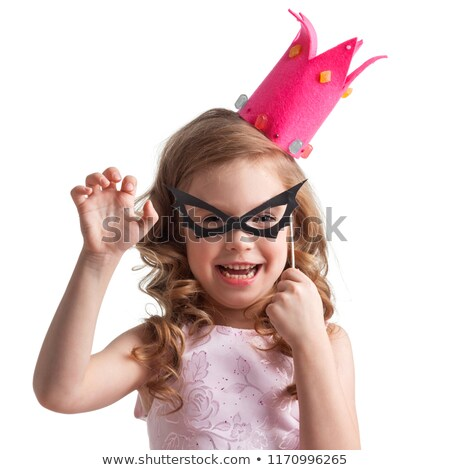 blond girl with a carnival mask isolated on black background stock photo © nejron