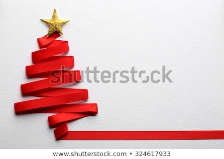 Red ribbon Christmas tree Stock photo © veralub