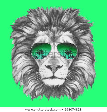 Stock photo: Sketch cute lion in vintage style
