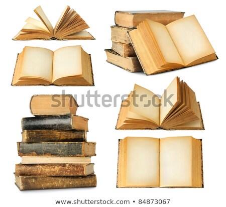 Otwarte starej książki biały odizolowany papieru Zdjęcia stock © Valeriy