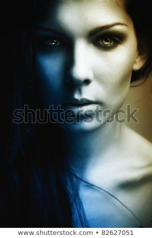 Portre kız karanlık çekici kız yüz Stok fotoğraf © fotoduki