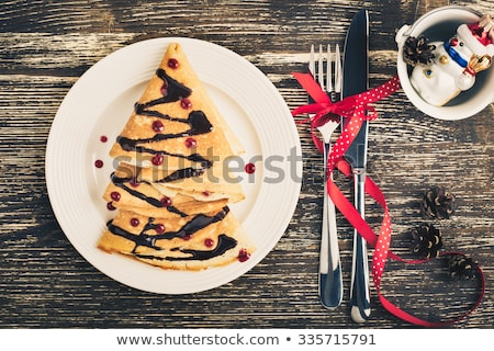 Retro toned Christmas and New Year chocolate cake Stock photo © stevanovicigor