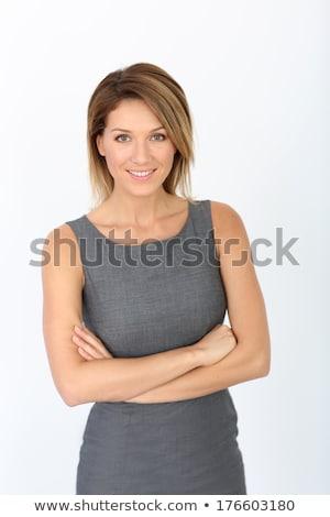 Mulher bonita cinza vestir isolado branco menina Foto stock © Elnur