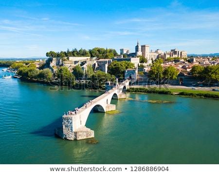 Panoramique vue pont palais mur bleu Photo stock © vwalakte