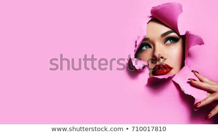 Mulher beleza batom vermelho feliz olhos corpo Foto stock © Elnur