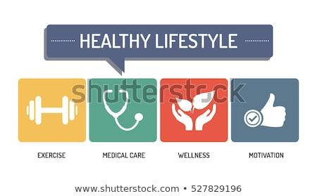 healthy lifestyle concept symbol set stock photo © tefi