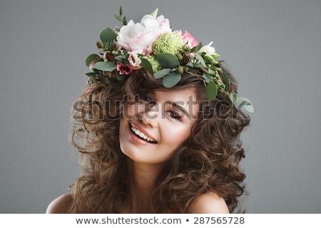 Portrait brunette dame tête femme fleur Photo stock © majdansky
