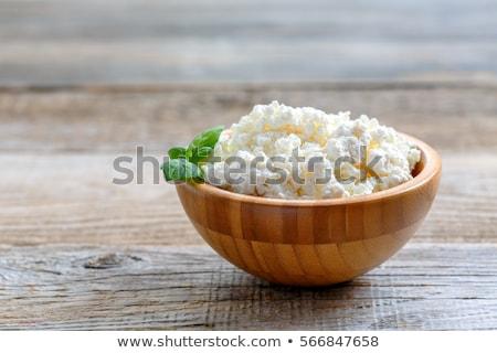 Sajt túró kunyhó eszik fehér kanál Stock fotó © yelenayemchuk