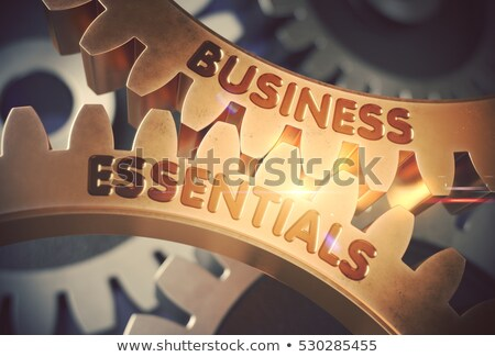 Business Essentials Concept. Golden Cog Gears. Stock photo © tashatuvango