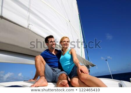 Fiatal pér portré vitorlás csónak jókedv szín Stock fotó © IS2