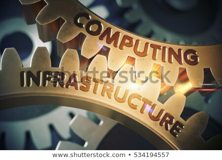 Golden Metallic Gears with Computing Infrastructure Concept. Stock photo © tashatuvango