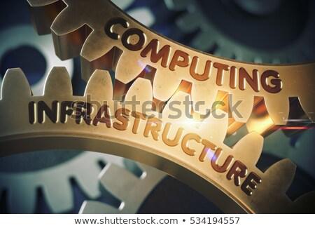 Golden Metallic Gears with Computing Infrastructure Concept. Stock photo © tashatuvango