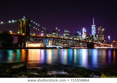 Vue pont nuit bâtiment lumière bleu Photo stock © vwalakte