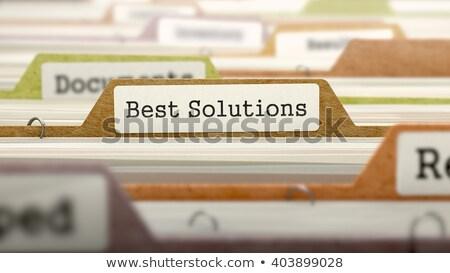 Foto stock: Cartão · o · melhor · soluções · ilustração · 3d · dobrador · moderno