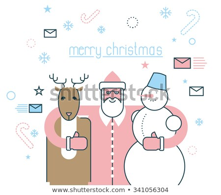 Merry Christmas. Santa Claus and his friends. Deer Rudolph and s Stock photo © popaukropa