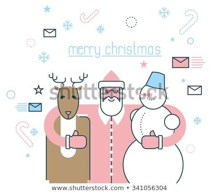 トナカイ · 赤 · 鼻 · サンタクロース · 雪だるま · 見 - ストックフォト © popaukropa