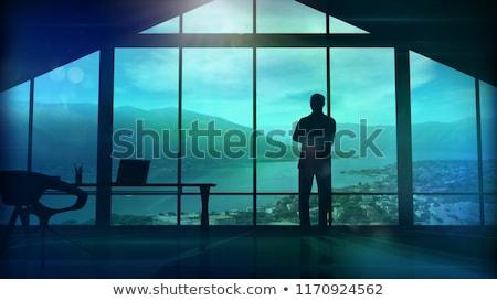 мужчин огромный служба большой Windows силуэта Сток-фото © ConceptCafe