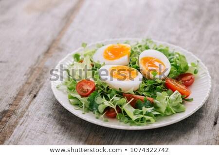 főtt · tojás · izolált · fehér · narancs · reggeli · étel - stock fotó © m-studio
