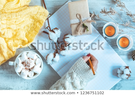 Stock photo: Woman hand writing in notepad, cup of coffee, dried rose and aut