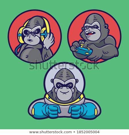 cartoon angry astronaut gorilla stock photo © cthoman