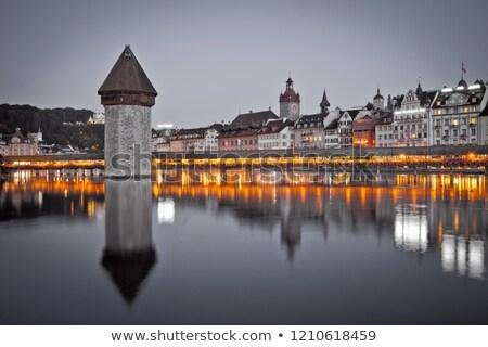Kapelbrucke in Lucerne famous Swiss landmark black and white wit Stock photo © xbrchx