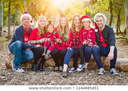 Karácsony több nemzetiségű családi portré kint család lány Stock fotó © feverpitch