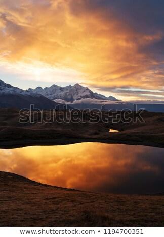 Stock fotó: Hegy · tó · Grúzia · tükör · tükröződés · víz
