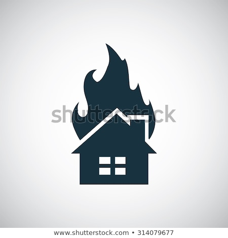 Isolated modern house on fire Stock photo © bluering